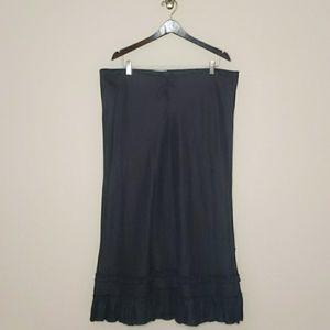 OLD NAVY Linen Ruffle Hem Black Maxi Skirt Size 14
